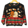 Vintage 80s Sparkle Teddy Bears In Love Tacky Ski Or Ugly Christmas Sweater - Cream Bear