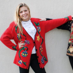Vintage 90s Christmas Ornaments Oversized Cardigan Ugly Sweater