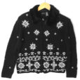 Furry Collar Black And White Embroidered Snowflakes Ugly Christmas Sweater