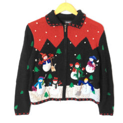 Raptured Snowmen Tacky Ugly Christmas Sweater