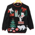 Vintage 80s Kitty Cat Don't Care About Your Ornaments Tacky Ugly Christmas Sweater
