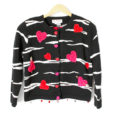 Beaded Hearts and Zebra Stripe Valentines Day Ugly Sweater