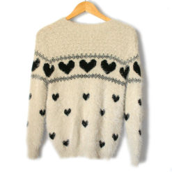 Cream Hairy Hearts Fuzzy Soft Ugly Valentines Day Sweater