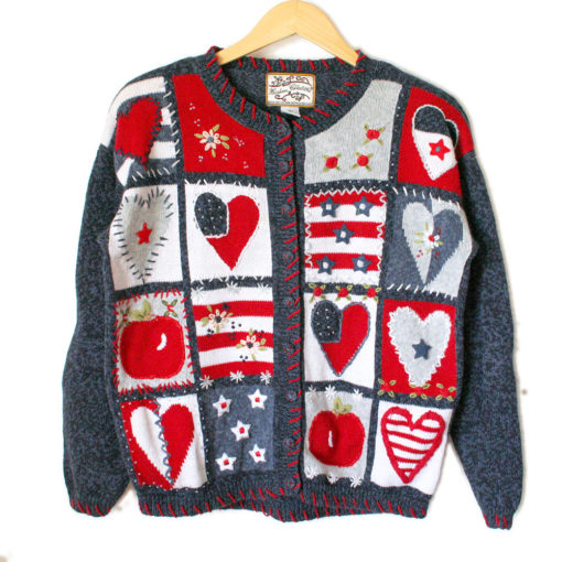 USA Patriotic Hearts and Apples Patchwork Ugly Valentines Sweater