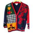 Vintage 80s Hearts, Houndstooth and Scottie Dogs Tacky Valentines Day Ugly Sweater