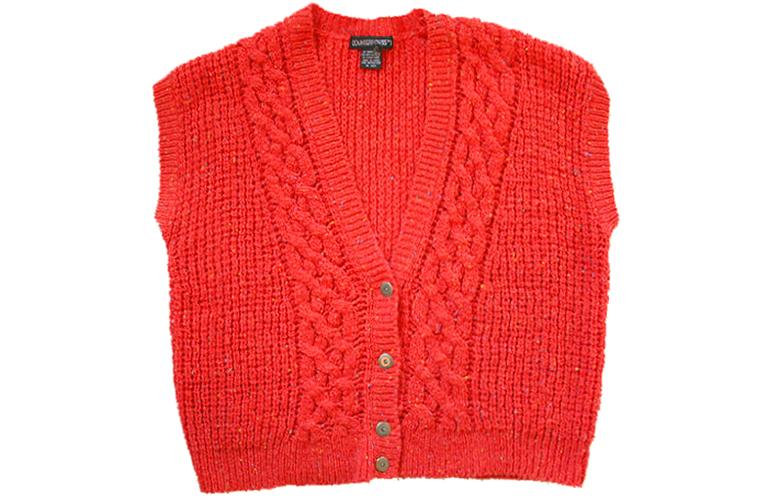 Orange Chunky Cable Knit Acrylic Ugly Sweater Vest Women's Plus Size 2X  (XXL) - Orange Chunky Cable Knit Acrylic Ugly Sweater Vest Women's Plus