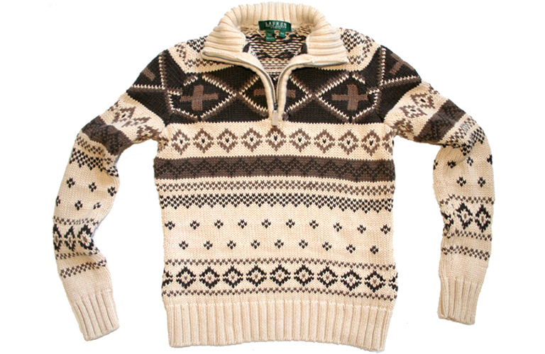 Ralph Lauren Tan Cotton Tacky Ugly Ski Sweater Women's Size Petite ...