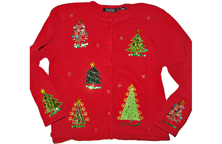 Sequin Christmas Trees Tacky Ugly Sweater:Cardigan Women's