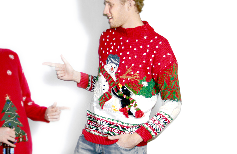 Penguin and Snowman Chunky Knit Tacky Ugly Christmas Sweater ...