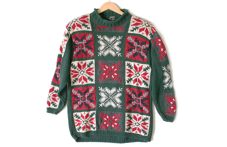 Snowflakes Oversized Slouch Chunky Knit Ugly Christmas Sweater ...