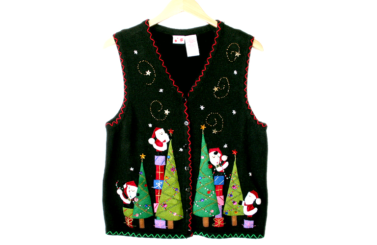 Tree Trimming Santas Ugly Christmas Sweater Vest Women's
