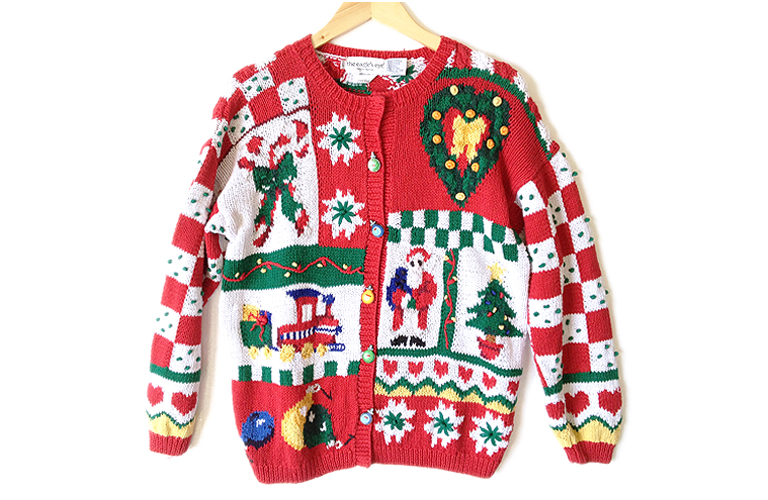 Vintage 90s Chunky Hand Knit Tacky Ugly Christmas Sweater Women's ...