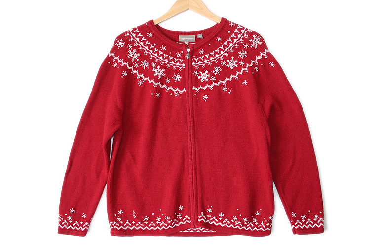 Blingy Fair Isle Tacky Ugly Christmas Sweater : Cardigan Women's ...