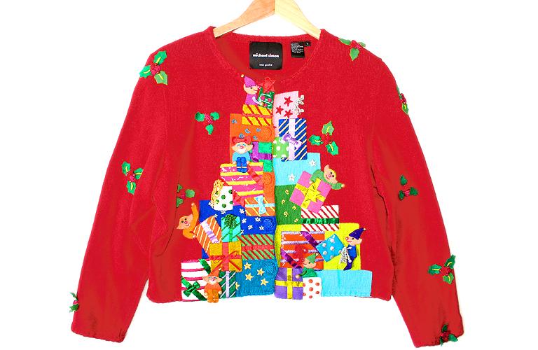 Michael Simon Elves & Pile of Gifts Tacky Ugly Christmas Sweater ...