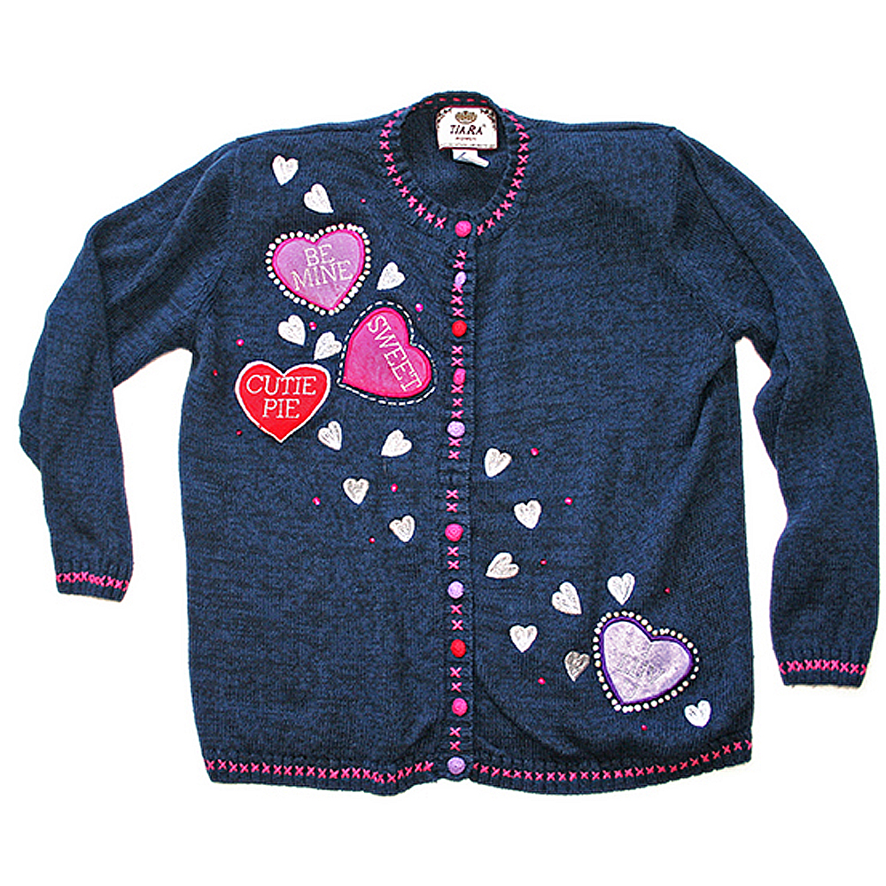 Candy Heart Valentine S Day Tacky Ugly Sweater The Ugly Sweater Shop