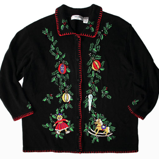 Christmas Toys Beaded Embroidered Ugly Cardigan Sweater Women's Size Medium (M)