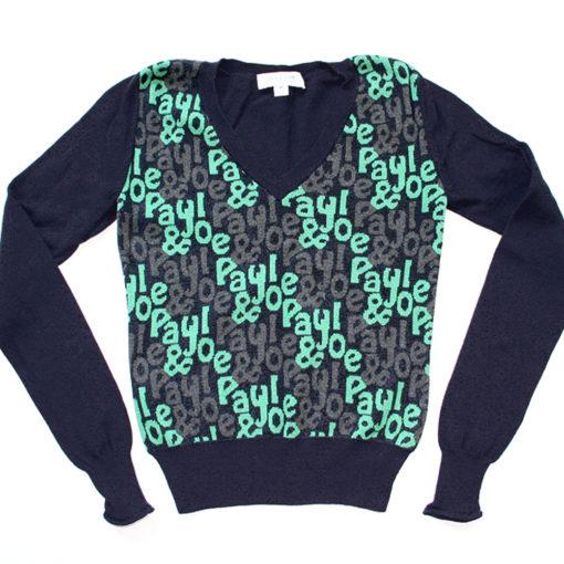 Paul & Joe Navy V-Neck Cashmere Blend Ugly Sweater Junior's Women's Size Large (L)