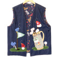 DIY Handmade Golf Theme Ugy Denim Vest Unisex Size 2X (Men's or Women's)