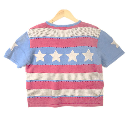 Faded Look Patriotic Americana USA Flag 4th of July Ugly Sweater Women's Size Large (L)
