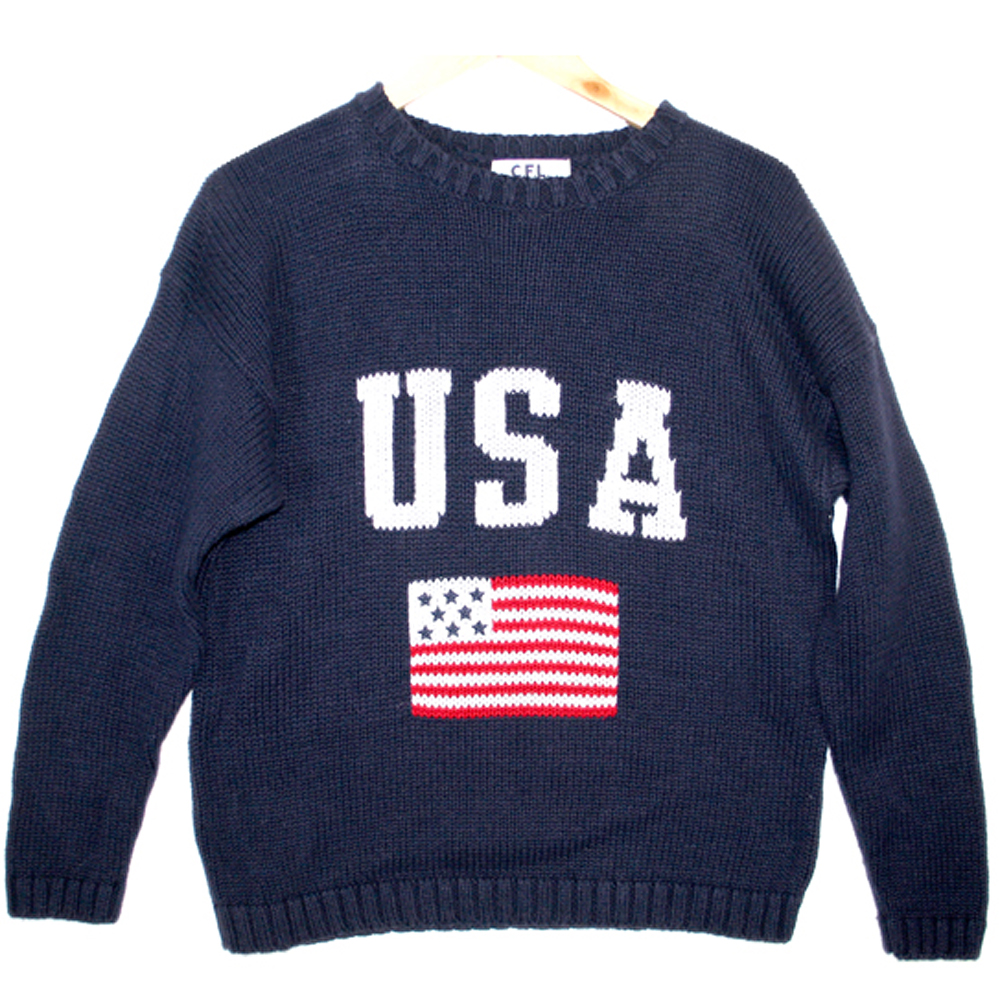 4th Of July Patriotic Usa Flag Ugly Sweater Navy The