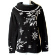 Longer Length Big Collar Tacky Ugly Christmas Sweater Women's Size Large (L)