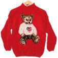 Oversized Teddy Bear Ugly Valentine's Independence Day Sweater Women's Size Small:Medium (S:M)