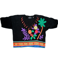 Palm Trees Tacky Ugly Wood Bead Gem Sweater Women's Size Small (S)