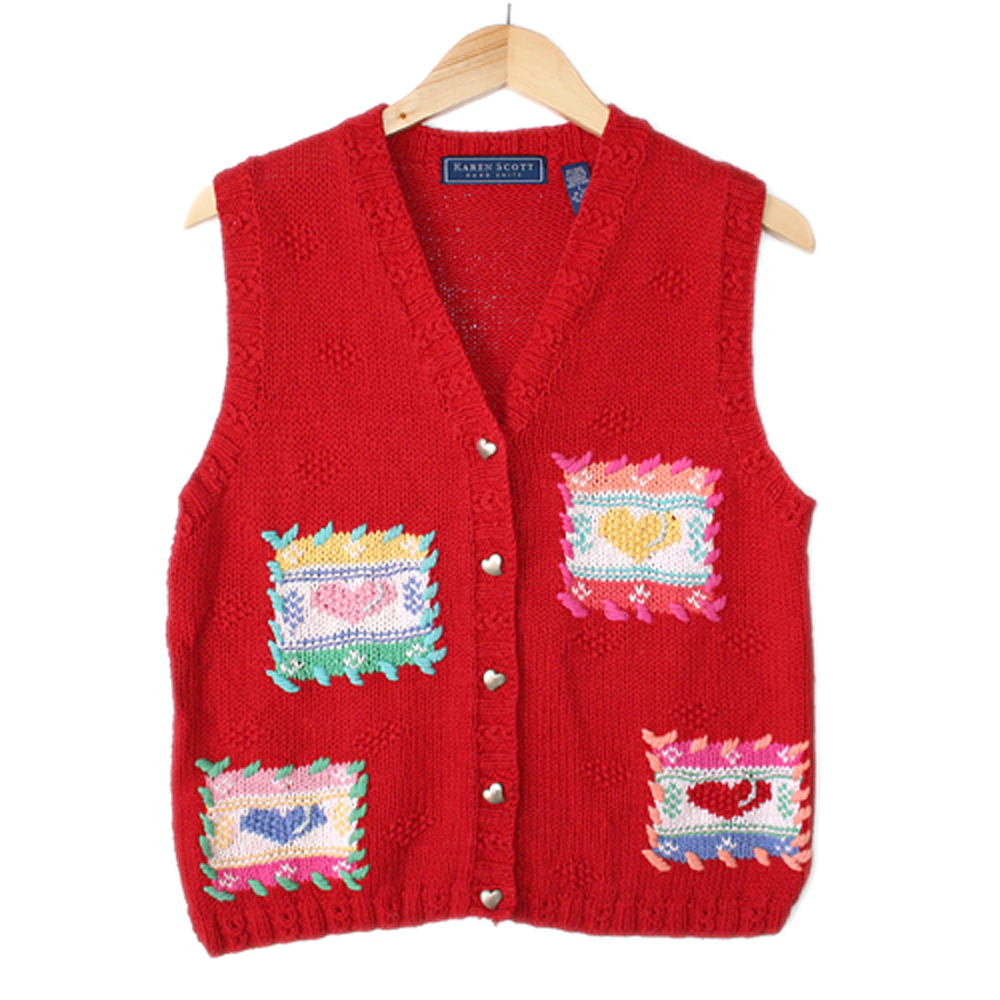 Patchwork Hearts Valentines Day Tacky Ugly Sweater Vest The Ugly