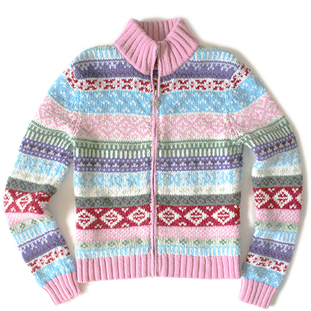 Kids Pink Zip Front Fair Isle Ugly Ski Sweater - The Ugly Sweater Shop
