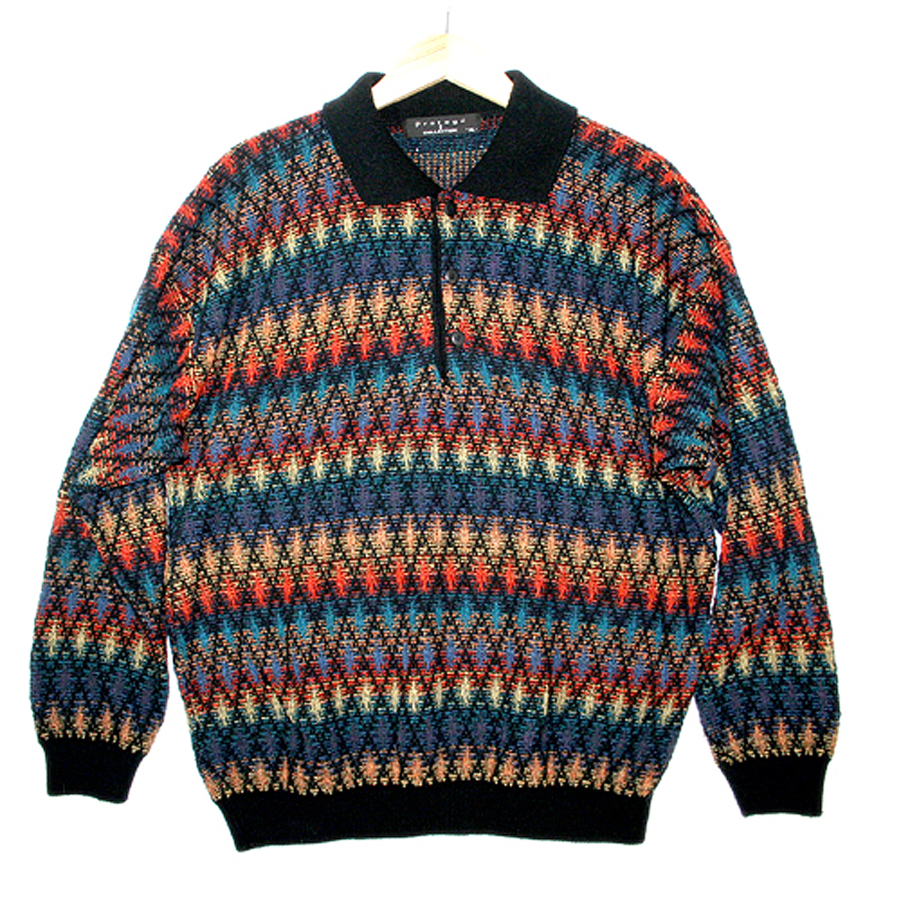 Rainbow Diamonds Tacky Ugly Cosby Sweater - The Ugly Sweater Shop