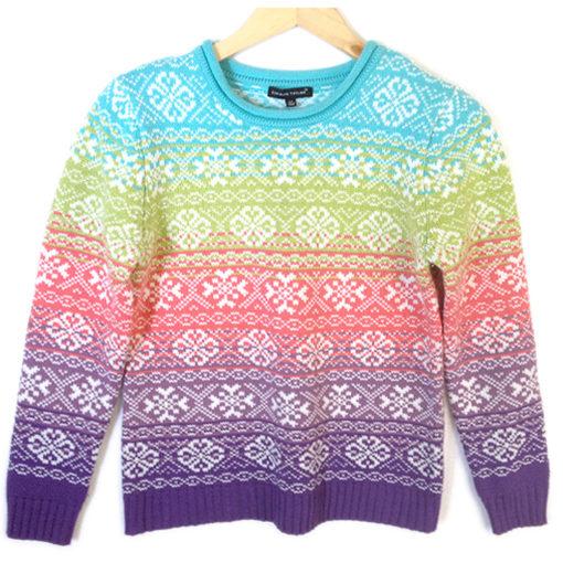 Rainbow Snowflake Nordic Tacky Ugly Ski Sweater The Ugly