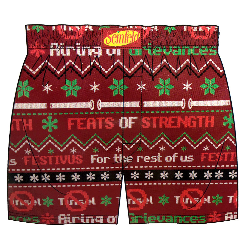 Seinfeld Festivus Ugly Christmas Sweater Style Boxer Shorts - The ...