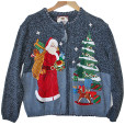 Stoned Santa Tacky Ugly Christmas Sweater : Cardigan Women's Size Large (L)