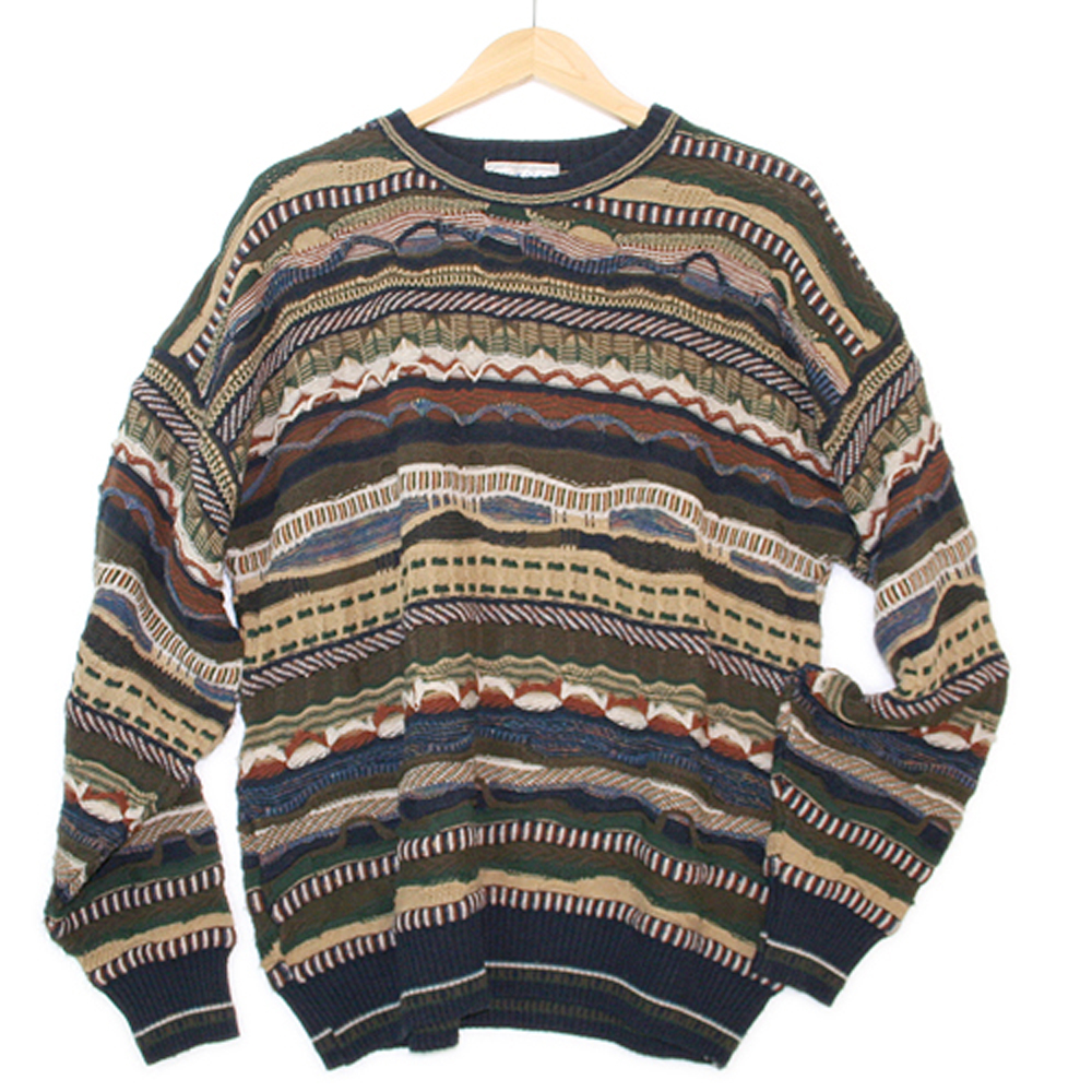Textured Horizontal Stripe Cosby Style Tacky Ugly Sweater