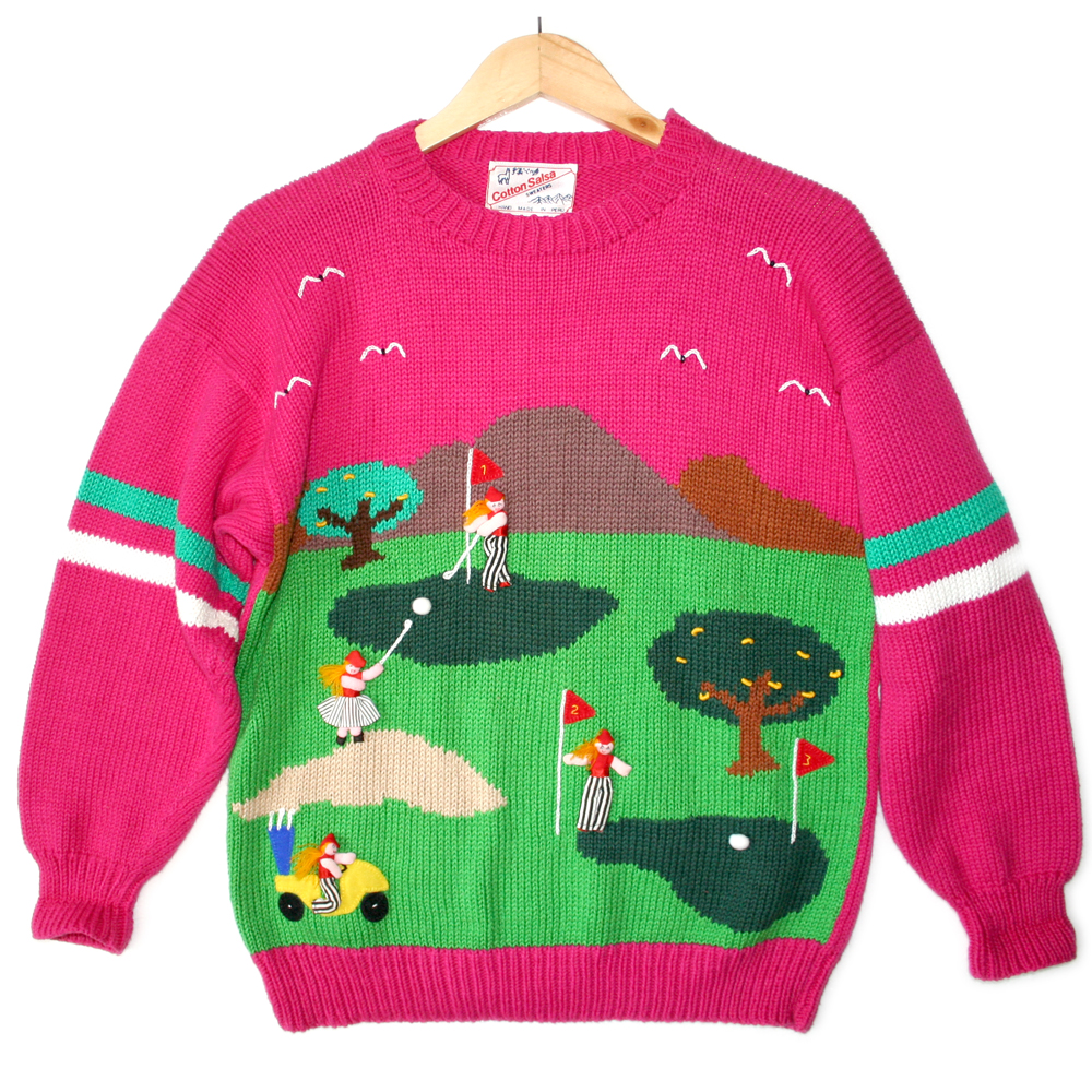 Hot Pink Vintage 90s Puffy Lady Golf Ugly Sweater - The Ugly ...