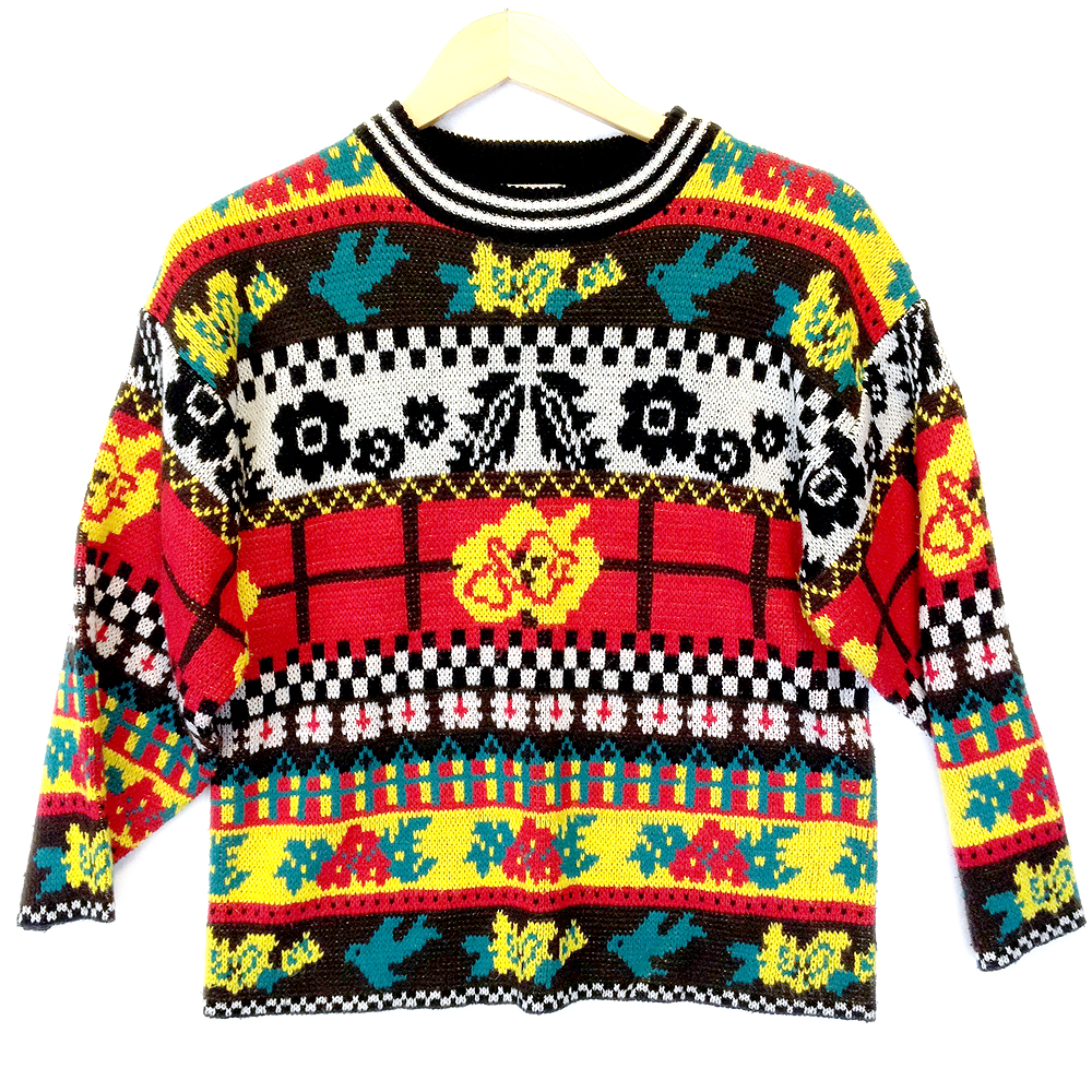 e527d0fa62c1 Trippy Bright Vintage 80s Acrylic Tacky Ugly Sweater - The Ugly Sweater Shop