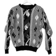 Vintage 80s Black & White & Leather Aztec Tribal Cosby Sweater