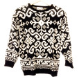Vintage 80s Black & White Oversized Acrylic Ugly Sweater