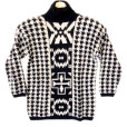 Vintage 80s Houndstooth & Aztec Tribal Turtleneck Ugly Sweater