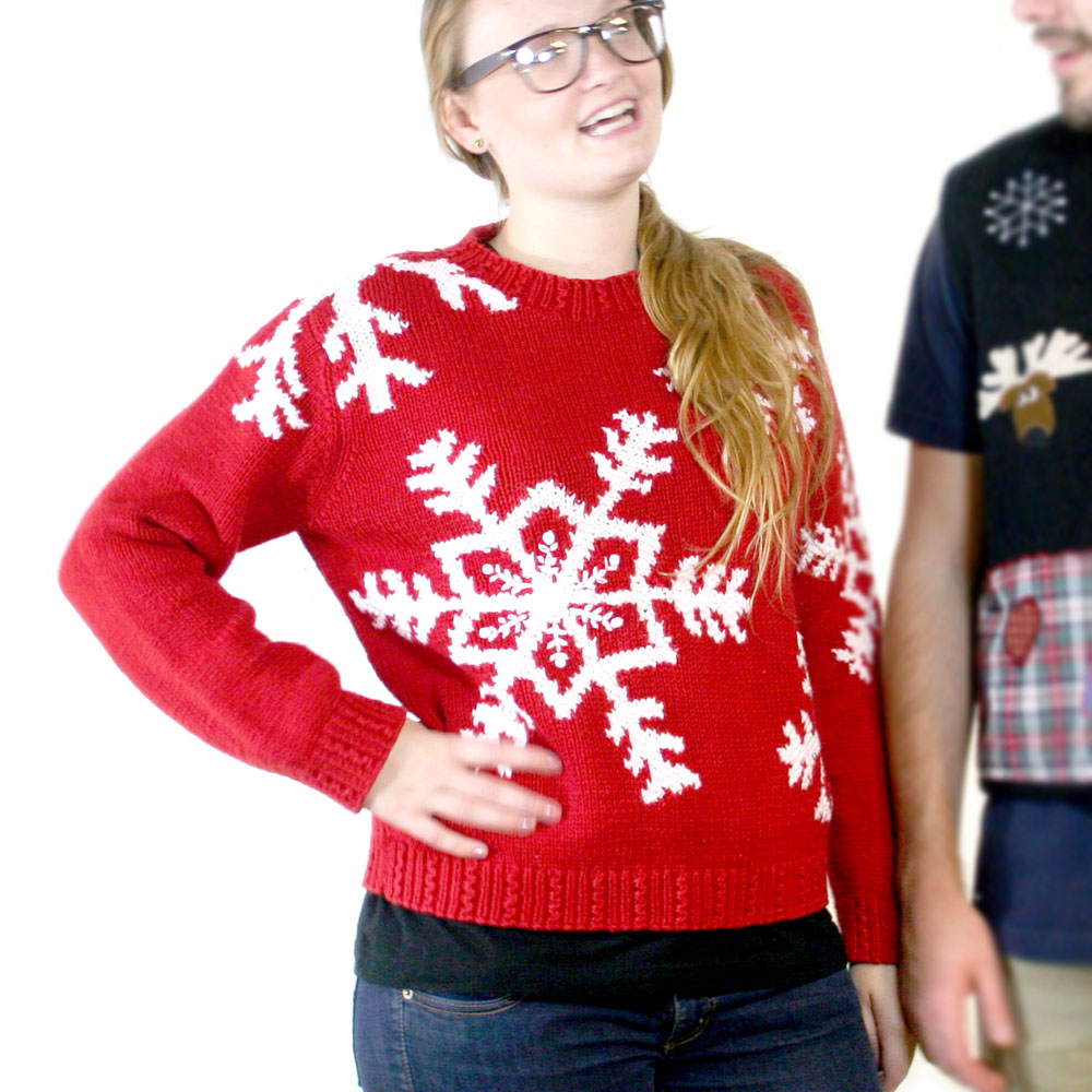 Big Snowflakes Chunky Knit Red Ugly Christmas Sweater - The Ugly ...