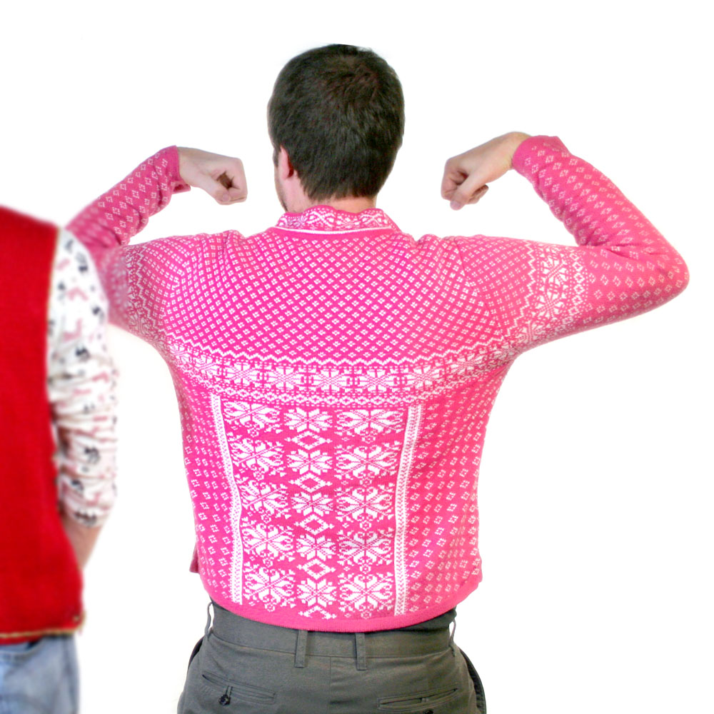 coldwater creek pink snowflakes ski ugly christmas sweater - Pink Ugly Christmas Sweater
