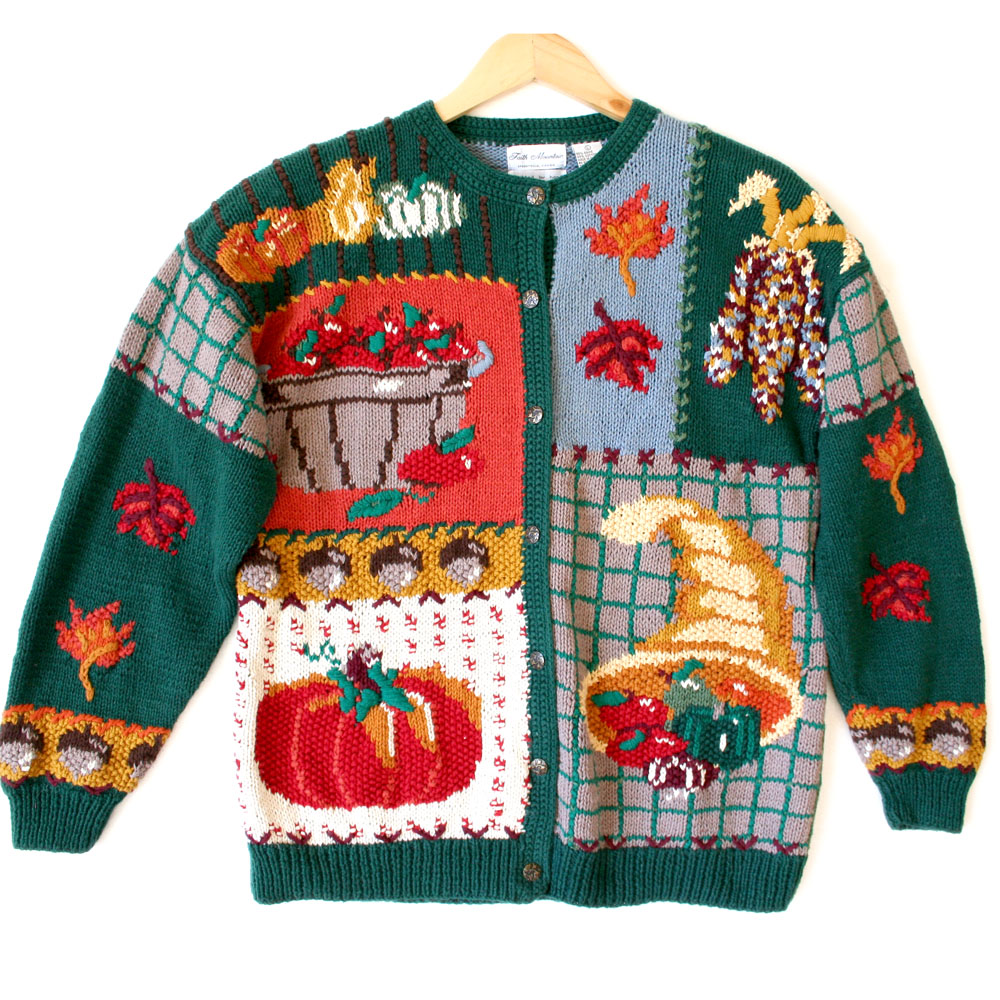 Cornucopia & Indian Corn Thanksgiving Ugly Sweater - The Ugly ...