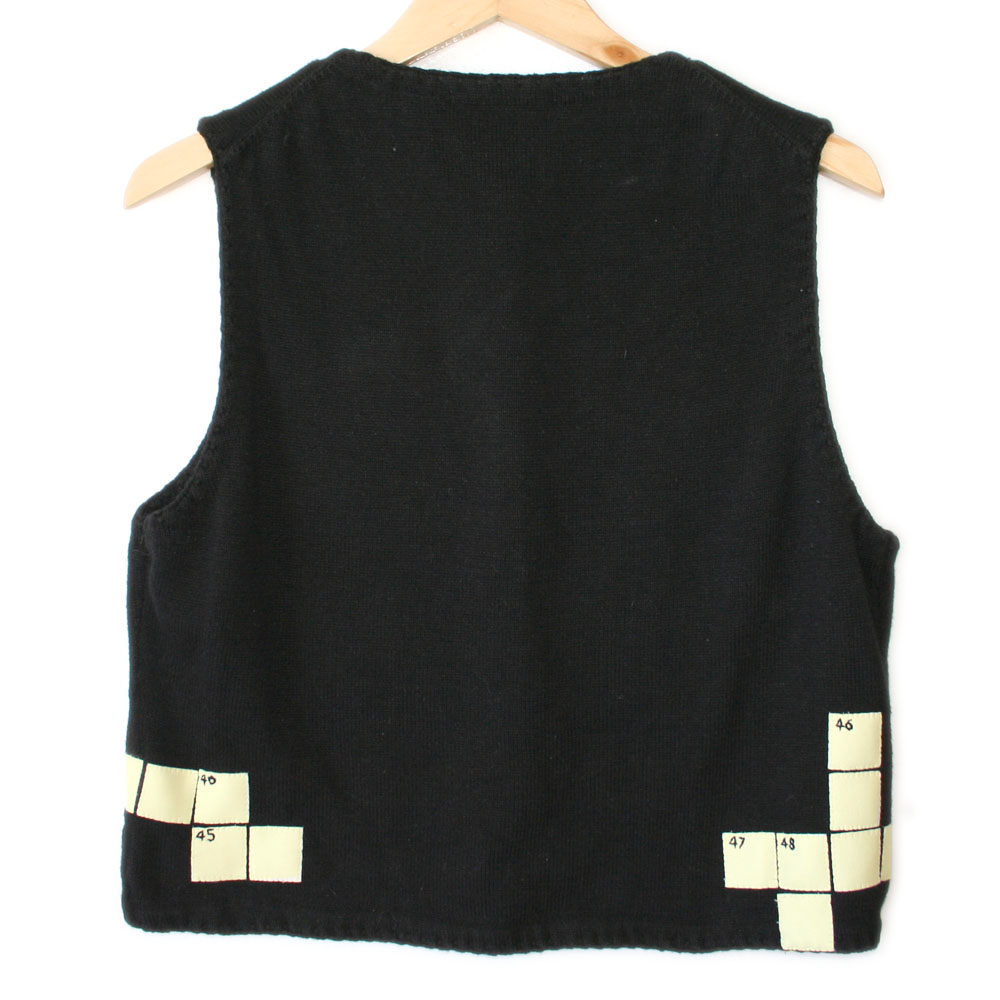 crossword puzzle tacky ugly sweater vest