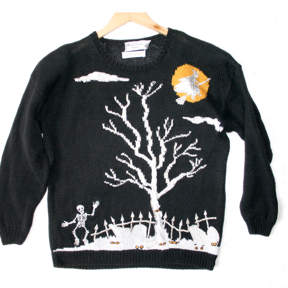 Dancing Skeletons Tacky Halloween Ugly Sweater The Ugly