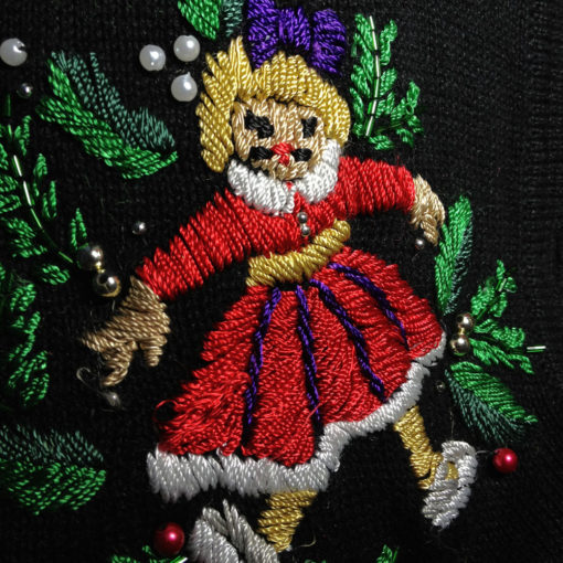 Doll With Mustache Beaded Embroidered Ugly Christmas Sweater
