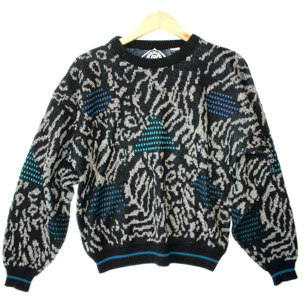 Shapes and Animal Print Vintage 90s Acrylic Ugly Sweater - The ...