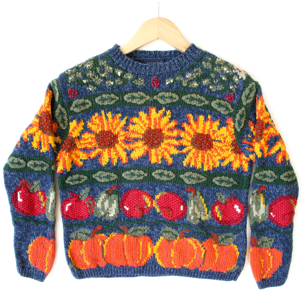 Sunflower Fall Harvest Tacky Thanksgiving Ugly Sweater - The Ugly ...