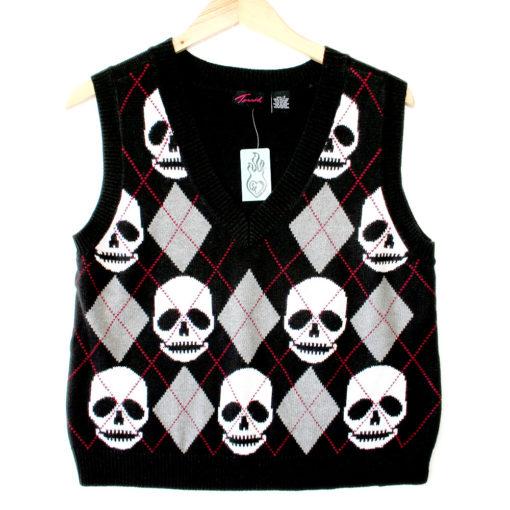 Torrid Argyle Skull Halloween Ugly Sweater Vest