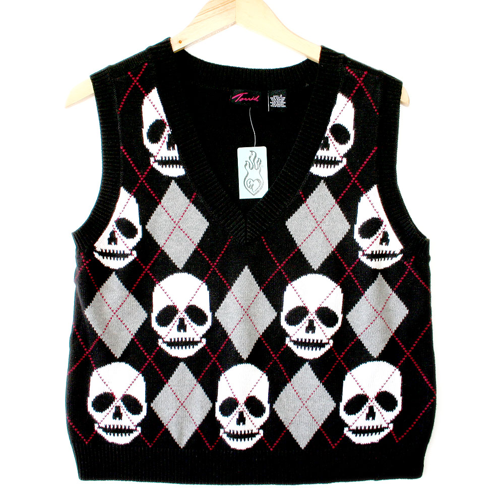 Torrid Argyle Skull Halloween Ugly Sweater Vest - New! - The Ugly ...