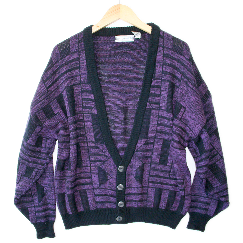 Vintage 80s Aztec Tribal Cosby Cardigan Purple Ugly Sweater - The ...